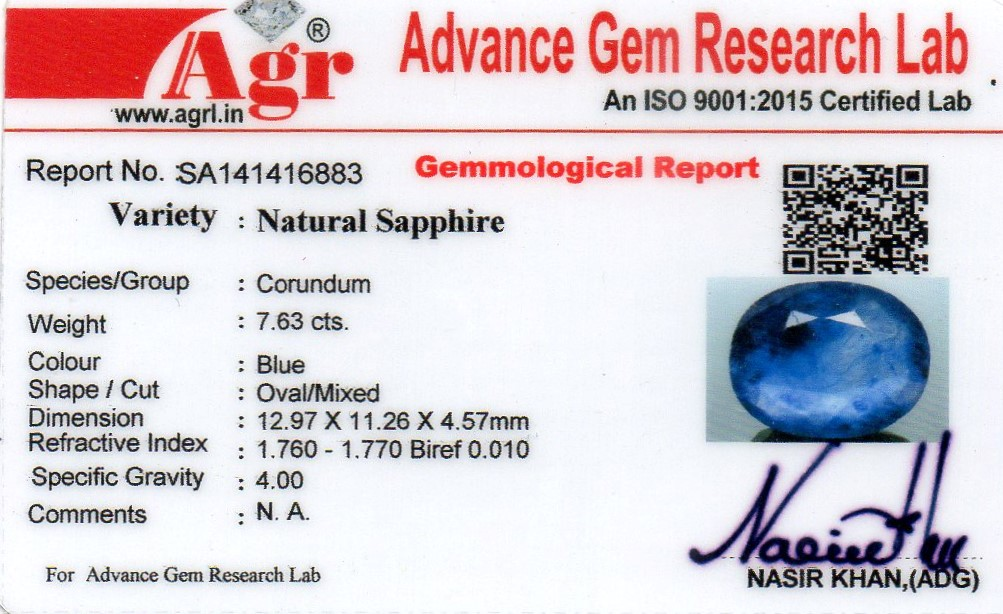 Blue Sapphire Heated & Treated Natural Certified  7.63CTS-16883